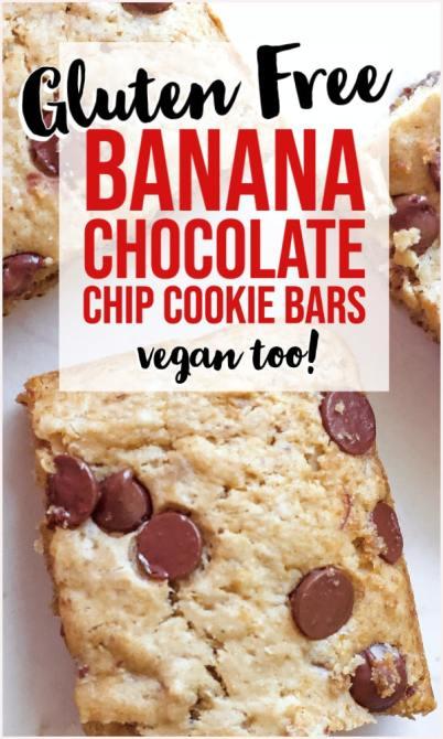 gluten free banana chocolate chip bars