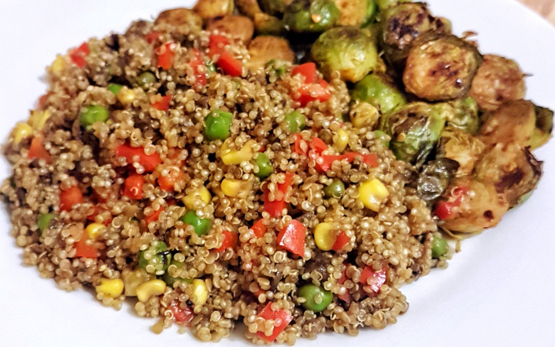 Mushroom quinoa with roasted brussels sprouts