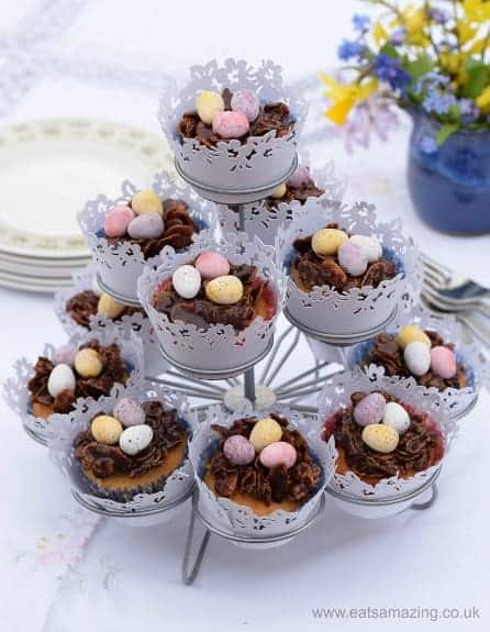 Easter Nest Cupcakes Recipe - vanilla cupcake and chocolate nest in one - a delicious treat for Easter
