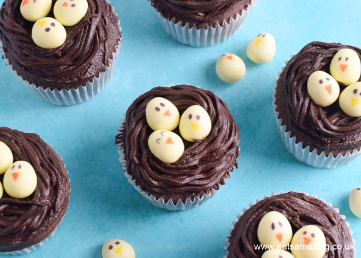 Easy chocolate Easter nest cupcakes recipe - fun Easter baking project for kids