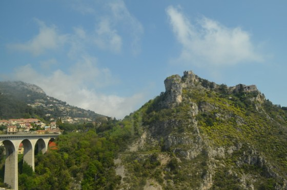 On the way to Monaco: The view up to the mountain village Eze.
