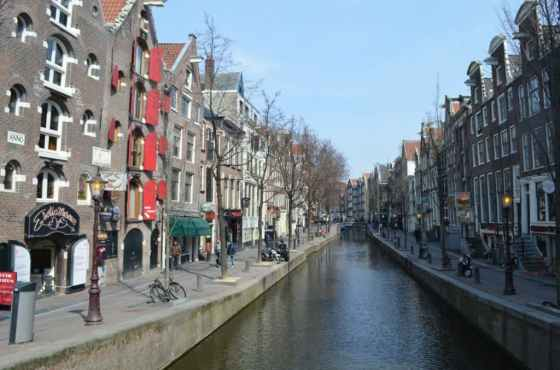 Sex shops line the canals in the Red Light District