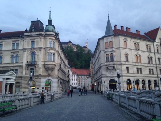 Looking up at Ljubljana Castle