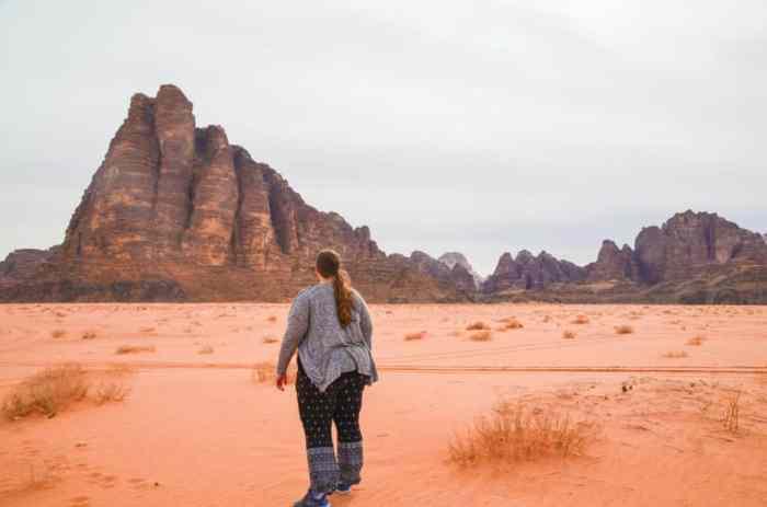 Walking through the desert in Wadi Rum, Jordan
