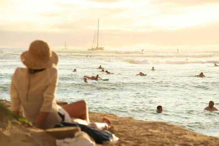 Watching surfers at Waikiki Beach