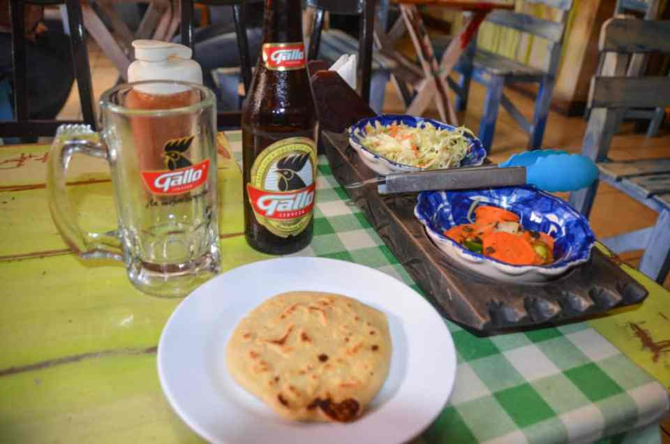 Pupusa and beer