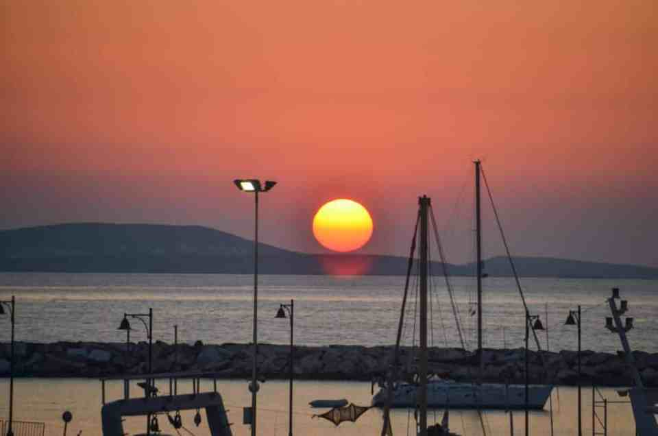 sunset in Naxos