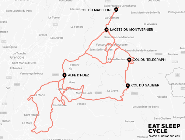 Map - Classic Climbs of the Alps Cycle Tour