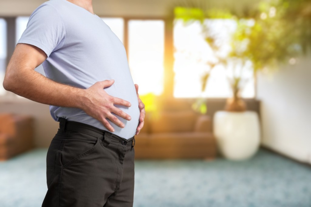 Man with large stomach
