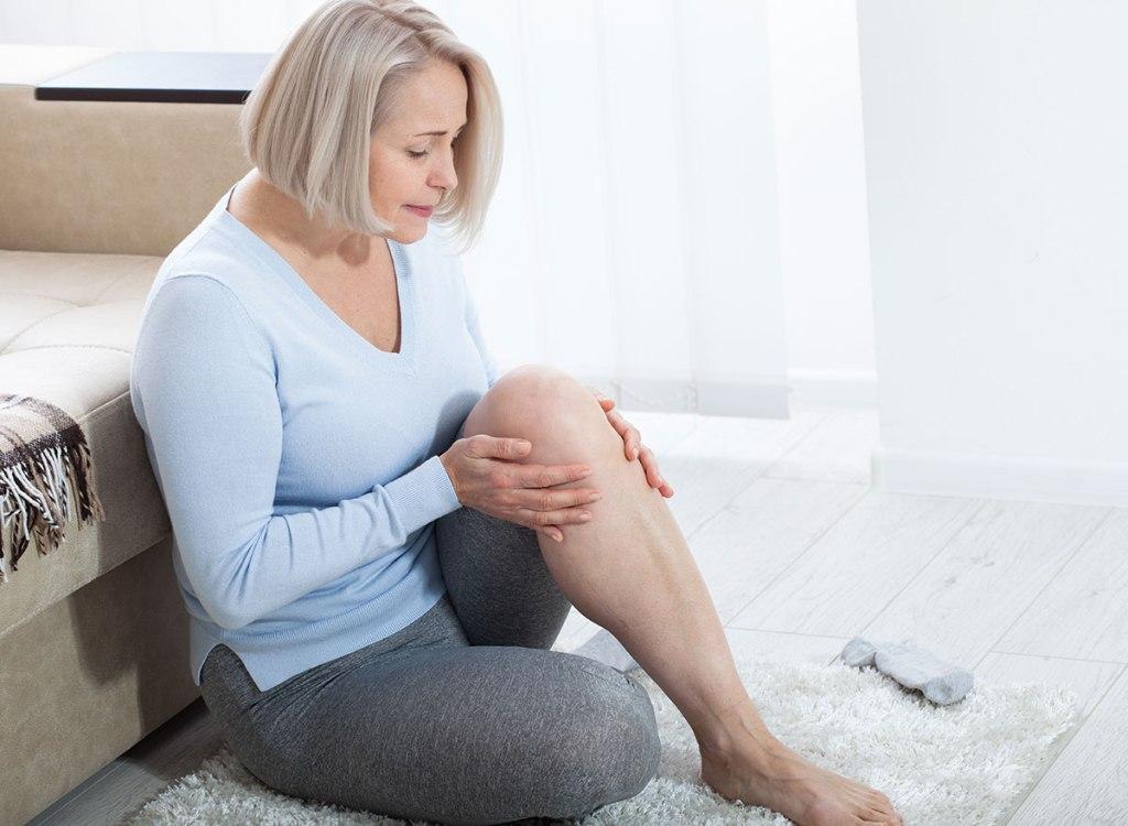 Woman with a sore leg