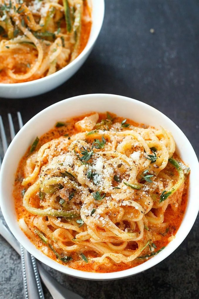 Zucchini Noodles in Creamy Tomato Sauce Recipe — Eatwell101