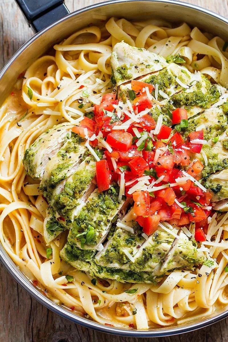 Pesto Chicken Pasta Recipe - Healthy Chicken Pasta Recipe ...