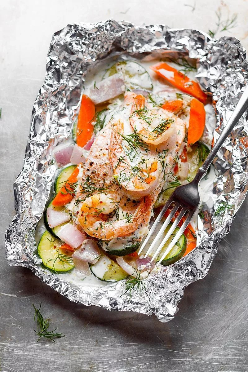 Creamy Shrimp And Salmon Foil Packets Recipe Eatwell101