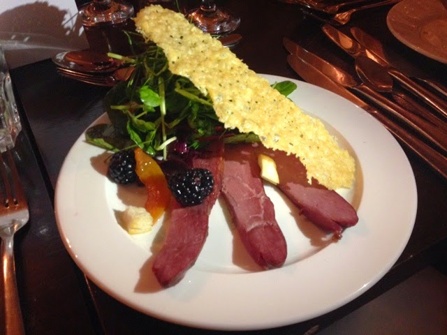 Warm smoked duck salad at Cafe Vin Cinq, Rugby
