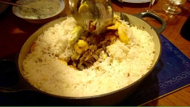 Digging into Keralan seafood biryani