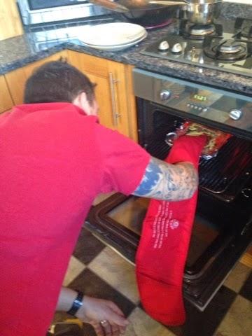 Mr Manning grilling Welsh rarebit