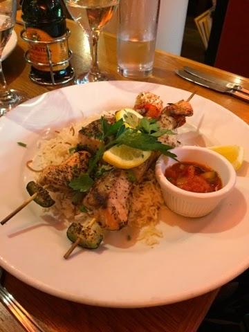 Fish souvlaki at the Olive Tree greek restaurant in Chapel Allerton, Leeds