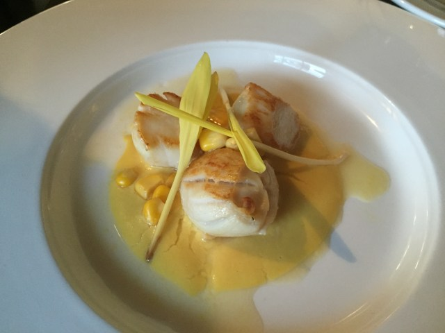 Scallop starter at the Wine House, Lichfield