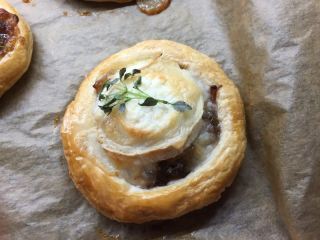 Completed caramelised onion and goats cheese tarts