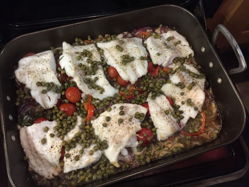 Roasted cod with fennel, vegetables and capers