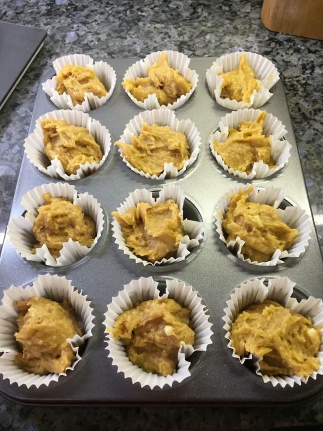 Assembling healthy banana muffins