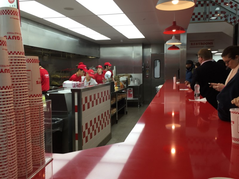 The production line at Five Guys, Birmingham