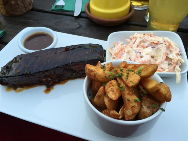 The 'MAN ONLY' smoky pork rib at the Polgooth Inn, Cornwall