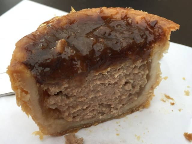 Pork pie with caramelised onion topping at Gloucester Services