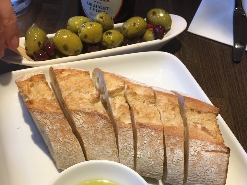 Bread and olives at Prezzo, Rugby