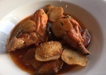 Chicken breast, ratatouille and saute potatoes at Oscars, Leamington Spa