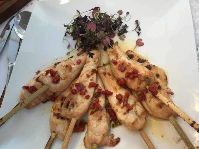 Chicken skewers at the Fuzzy Duck, Nuneaton
