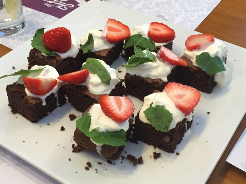 Chocolate brownies at the Fuzzy Duck. Nuneaton