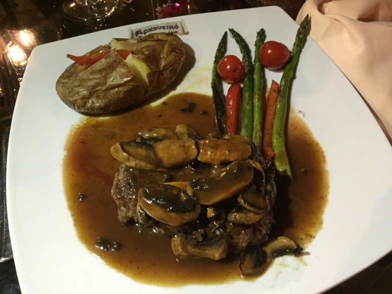 Fillet steak with pepper sauce at Archontiko, Corfu