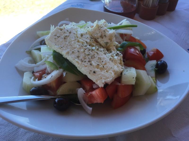 Greek salad at Boukari Beach, Corfu