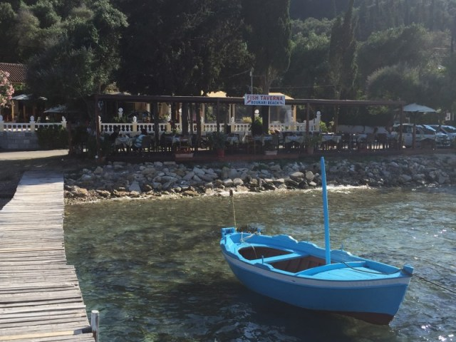 The beautiful Boukari Beach restaurant in Corfu