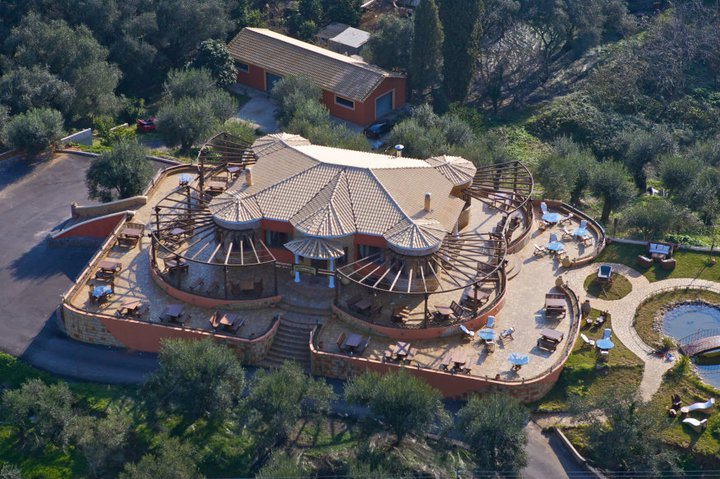 Aerial view of Archontiko in  Corfu