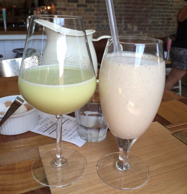 Wholesome morning drinks at the Grainstore, King's Cross, London