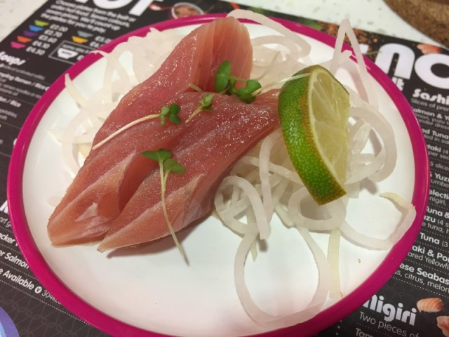 Tuna sashimi at Yo Sushi
