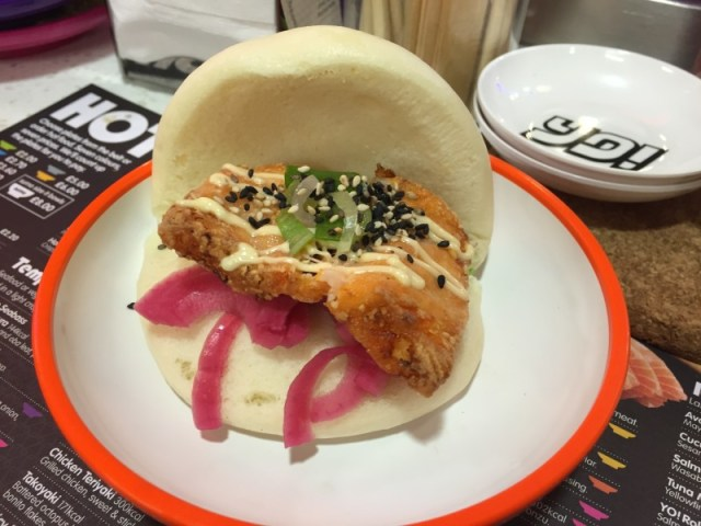 Kimchee steamed salmon bun at Yo Sushi