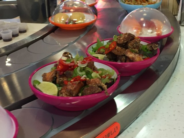 Dishes at Yo Sushi