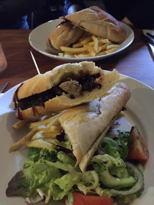 Sausage baguettes at the Rose and Crown, Ratley