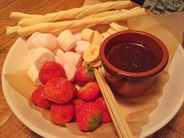 Fondue dessert at Revolution
