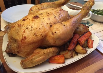 A roast cockerel dinner
