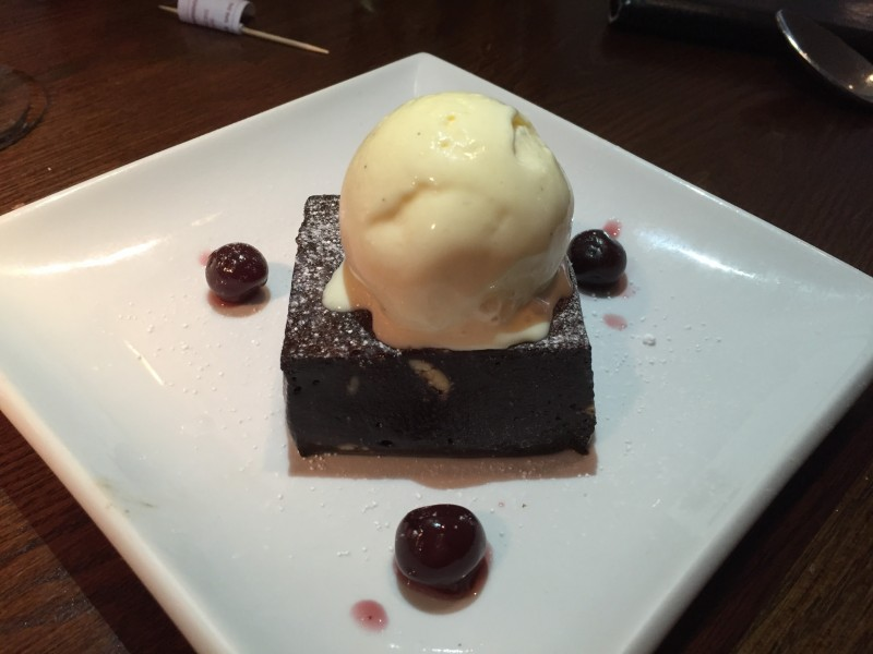 Chocolate brownie at The Stag at Offchurch