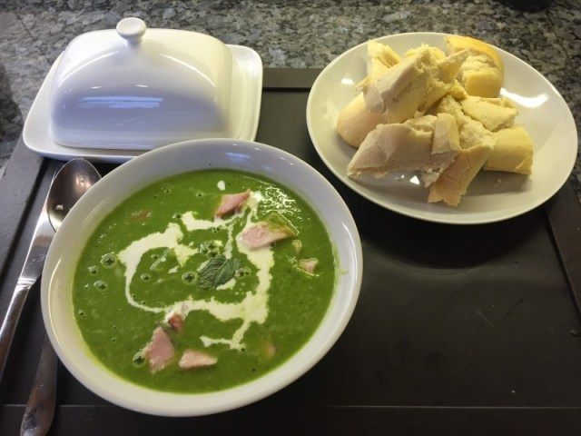 Pea and ham soup and crusty bread