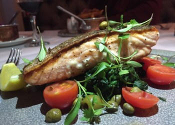 Salmon steak at Marco's New York Italian