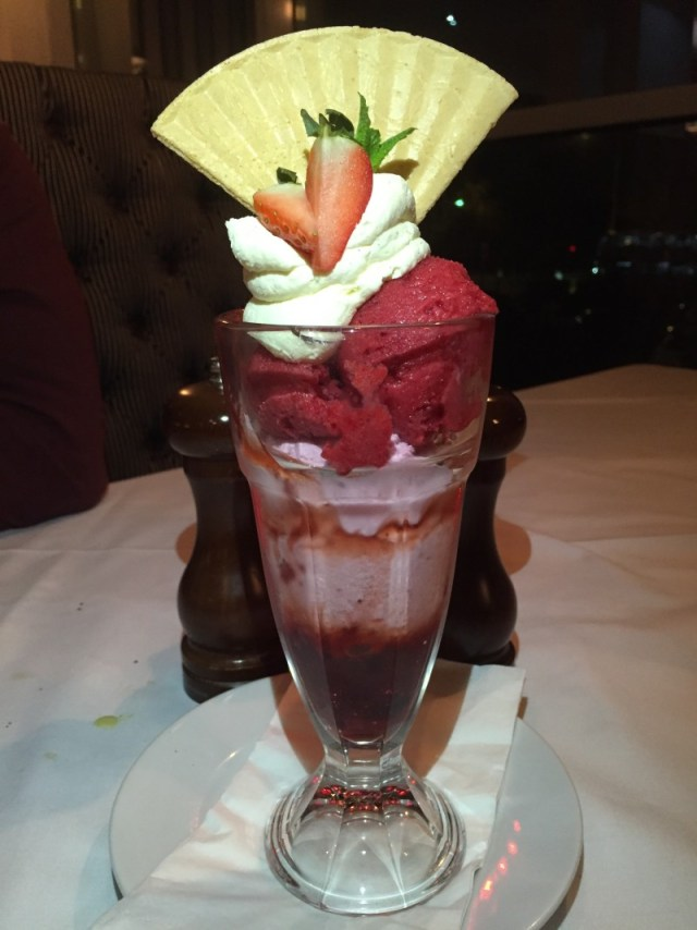 Strawberry sundae at Marcos New York Italian