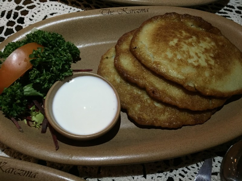 Potato pancakes at the Karczma, Birmingham