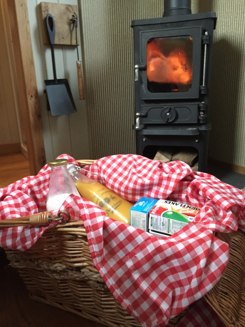 Shepherds hut breakfast hamper