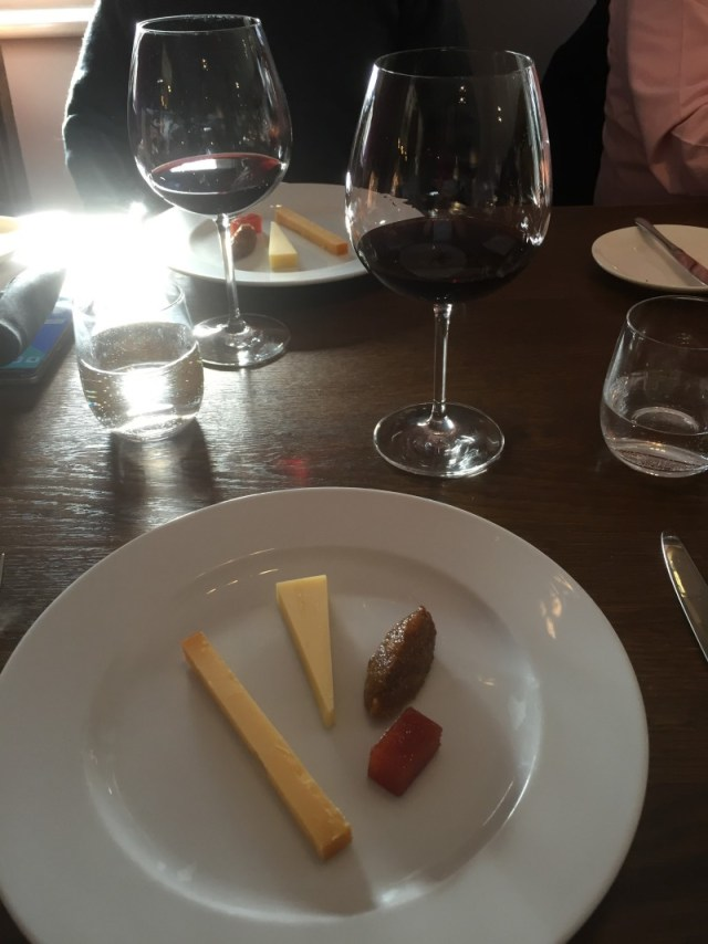 Cheese course and La Chapelle wine at The Cross, Kenilworth